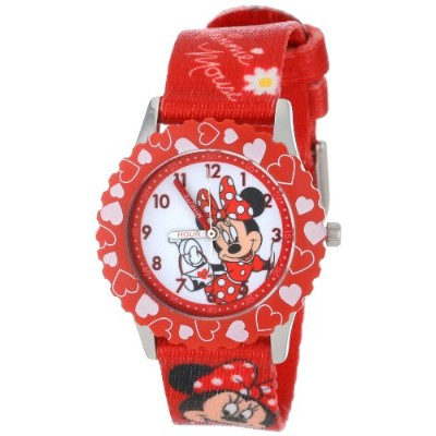 ディズニー 腕時計 キッズ 時計 子供用 ミニー Disney Kids' W001023 Minnie Stainless Steel Time Teacher Printed Bezel...