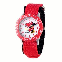 ディズニー 腕時計 キッズ 時計 子供用 ミニー Disney Kids' W000258 Minnie Mouse Stainless Steel Time Teacher Red Bezel...