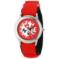 ディズニー 腕時計 キッズ 時計 子供用 ミニー Disney Kids' W001027 Minnie Stainless Steel Time Teacher Red Nylon Strap...