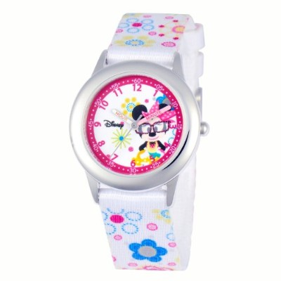 ディズニー 腕時計 キッズ 時計 子供用 ミニー Disney Kids' W000364 Minnie Mouse Stainless Steel Time Teacher Printed...