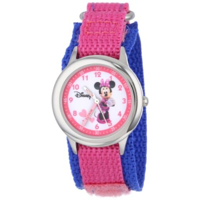 ディズニー 腕時計 キッズ 時計 子供用 ミニー Disney Kids' W000034 Minnie Mouse Stainless Steel Time Teacher Watch