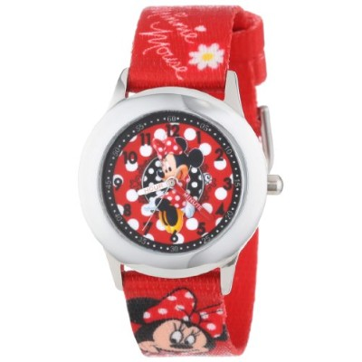 ディズニー 腕時計 キッズ 時計 子供用 ミニー Disney Kids' W001025 Minnie Stainless Steel Time Teacher Printed Strap...