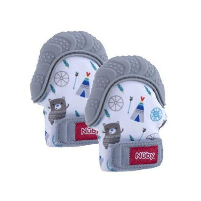 Nuby Soothing Teething Mitten with Hygienic Travel Bag, Grey (2 Pack)