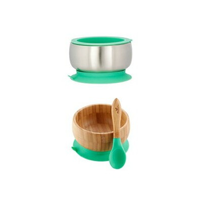 Avanchy Sustainable Bundle Green - Bamboo Baby Bowls Set + Stainless Steel Baby Bowl Set. Baby...