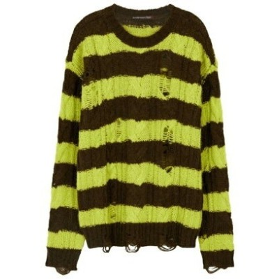 ANDERSSON BELL UNISEX DESTROYED STRIPE CABLE SWEATER アトモスピンク ニット カーディガン カーキ【送料無料】