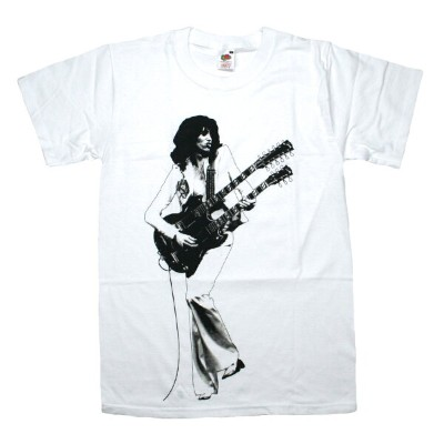 Led Zeppelin / Jimmy Page Playing Gibson EDS-1275 Tee (White)