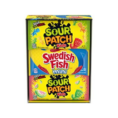SOUR PATCH KIDS & SWEDISH FISH Soft & Chewy Candy Variety Pack - 18 Individual Snack Packs