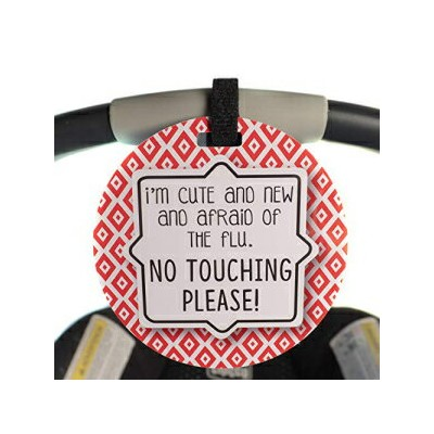 Three Little Tots Red Tag - I'm Cute and New and Afraid of The Flu. No Touching Please (Boy Preemie...