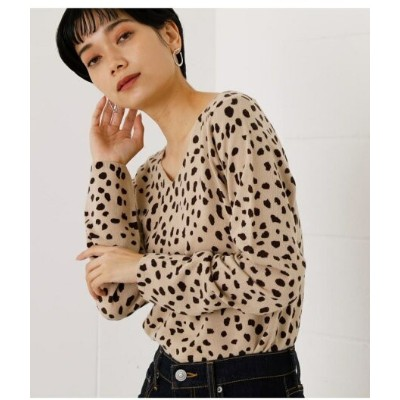 【SALE/50%OFF】AZUL by moussy 2WAY NUDIE LEOPARD KNIT TOPS アズールバイマウジー ニット ニットその他 ベージュ グレー