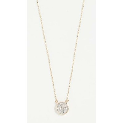 14k Gold Solid Pave Disc Necklace レディース
