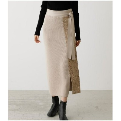 【SALE/50%OFF】AZUL by moussy LACE DOCKING KNIT SKIRT アズールバイマウジー スカート スカートその他 ホワイト