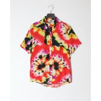 GUESS SS ECO RAYON PRNT TIE DYE SHRT○M0YH58RD4Z0 ピンク トップス