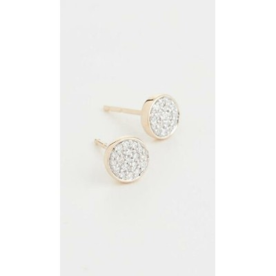 14k Gold Solid Pave Disc Earrings レディース