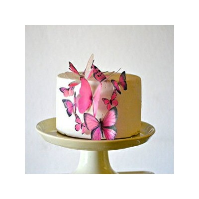 Sugar Robot Inc. Edible Butterflies - Assorted Pink Set of 15 - Cake and Cupcake Toppers, Decoration