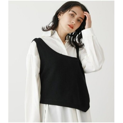 【SALE/50%OFF】AZUL by moussy ASYMMETRY KNIT VEST アズールバイマウジー カットソー タンクトップ ブラック ホワイト
