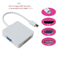 【送料無料】3in1 Mini Displayport/Thunderbolt to VGA/HDMI/ DVI変換アダプタ【P25Apr15】