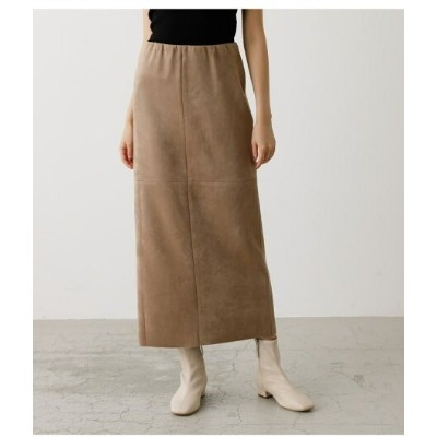 【SALE/50%OFF】AZUL by moussy FAKE SUEDE SLIT SKIRT アズールバイマウジー スカート ロングスカート ブラウン カーキ