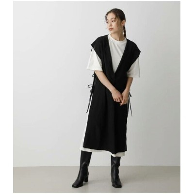 【SALE/30%OFF】AZUL by moussy LONG VEST SET ONEPIECE アズールバイマウジー ワンピース 5ー9分袖ワンピース ブラック グリーン ブラウン【送料無料】