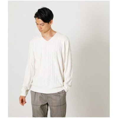 【SALE/50%OFF】AZUL by moussy NUDIE KNIT V/N CABLE PULLOVER アズールバイマウジー ニット ニットその他 ホワイト ブラック ブラウン【RBA...
