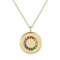 Metier by Tom Foolery 9kt yellow gold Coin Circle rainbow gemstones