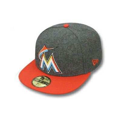 NEW ERA MIAMI MARLINS 【2T MELTON-BASIC/GREY-ORG】ニューエラ マイアミ マーリンズ 59FIFTY フィッテッド キャップ FITTED CAP ...