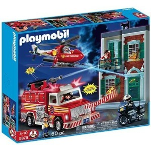 プレイモービル 5879 消防レスキューセット Playmobil 60 Pc Fire Rescue Set with Light and Sound 5879