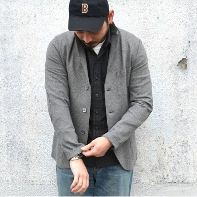 Harris Wharf London(ハリスワーフロンドン)/ Man Jacket Interlock -(140)middle grey-