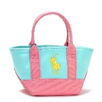 ラルフローレン RALPH LAUREN トートバッグ 950039 SEASIDE MINI TOTE SOFT AUQA/PINK/YELLOW L.BL【楽ギフ_包装】