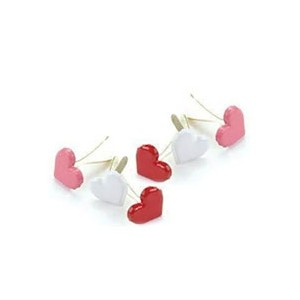 ブラッド(割りピン)Brads : Painted Metal Fastener/Heart 8mm - Pink,Red,White (1パック約50pcs入り)