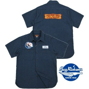 "BUZZ RICKSON'S/バズリクソンズHERRINGBONE TWILL S/S SQUADRON REUNION SHIRT STRIPE""Air Apaches""刺繍ワッペン付き..."