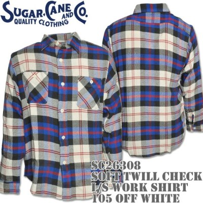 Sugar Cane(シュガーケーン)SOFT TWILL CHECK L/S WORK SHIRT Off White SC26308-105