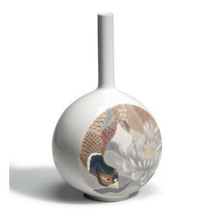 *リヤドロ CANVAS VASE BIRD SCENE 01007075 LLADRO 日本未発売 □