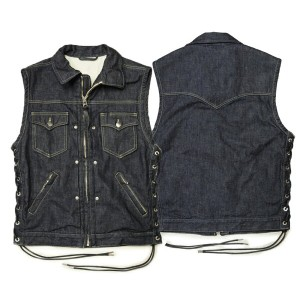 "【SKULL FLIGHT スカルフライト】ベスト/DENIM CLUB ZIP VEST ""FULL COLLAR"" !REAL DEAL"