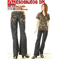 EVISU JEANS LADY'S エヴィス ジーンズ BOOT-LEG JEANS PAINTED 0508 ブーツカットジーンズ ピンク&イエローカモメマーク かもめ【エヴィスジーンズ パンツ...