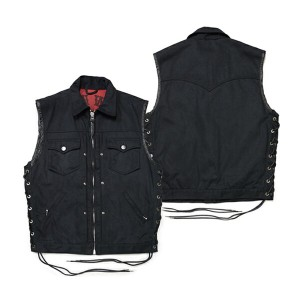 "【SKULL FLIGHT スカルフライト】ベスト/HARD PIQUE CLUB ZIP VEST ""FULL COLLAR"" ★REALDEAL"