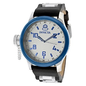 インビクタ 時計 インヴィクタ メンズ 腕時計 Invicta Men's Russian Diver Silver Dial Black Genuine Leather