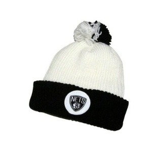MITCHELL&NESS RETRO PATCH Cuffed Pom Knit Cap (NBA/BROOKLYN NETS: WHITE×BLACK)ミッチェル&ネス/ニットキャップ/白×黒