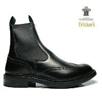 トリッカーズ TRICKER'S BLACK BOX CALF M2754 ELASTIC SIDED BROGUE BOOTS HENRY SIDE GORE ダイナイトソール ブラック ボックス...