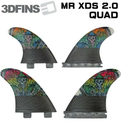 3DFINS 3d フィン MR XDS 2.0 Christain カーボン クアッドフィン QUAD FIN 4枚セット ショートボード future fcs carbon