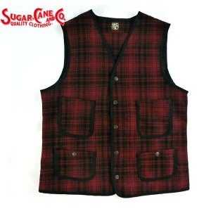 No.SC13207 SUGAR CANE シュガーケーンFICTION ROMANCE21.25oz.WOOL CHECK CRUISER VEST