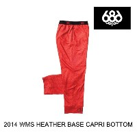 2014 686 シックスエイトシックス レイヤー WOMEN'S HEATHER BASE LAYER CAPRI BOTTOM RED HEATHER