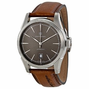 ハミルトン メンズ 腕時計 Hamilton H42415591 Spirit of Liberty Automatic Grey Dial Leather Men's Watch