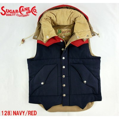 No.SC13068 SUGAR CANE シュガーケーンCOTTON/NYLONPADDING VEST with HOOD
