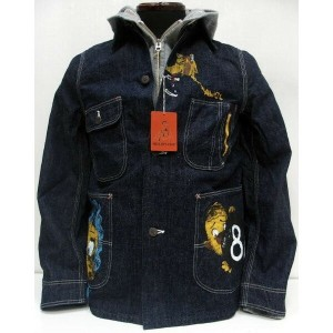 HELLER'S CAFE(ヘラーズカフェ)by WAREHOUSE [1950's Military Art Denim Coverall PRINTED]カバーオール/デニムジャケット...