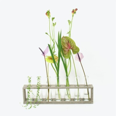 【SALE】【新品】WILLOW GROUP(ウィローグループ)WOOD TRAY GLASS VASES 一輪挿しセット
