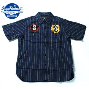 No.BR37269 BUZZ RICKSON'SHERRINGBONE TWILL STRIPES/S SQUADRON REUNION SHIRT