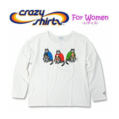 Crazy Shirts(クレイジーシャツ)-Womens- L/S Scoop Neck Tee @Kliban Cat[2008091] ICE CREAM CAT クリバンキャット 長袖...