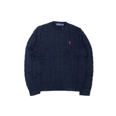 ●POLO RALPH LAUREN CABLE KNIT COTTON SWEATER (HUNTER NAVY)ポロラルフローレン/クルーネックセーター/紺