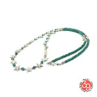 Sunku 39 サンク SK-143 STAR BEADS NECKLACE STAR&TURQUOISE BEADS シルバー ビーズ スター ターコイズ ネックレス