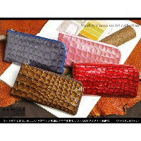 【FU-SI FERNALLE/ フーシフェルナーレ】 Shadow Cocco wallet collection:麗しいツヤのエナメル加工クロコ型押しレザーのL字ファスナー長財布/革 本革 レザー